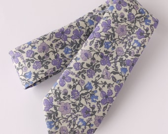 Floral Liberty tie - Liberty tana lawn Meadow blue and lilac tie - wedding tie - blue grey and lilac floral tie