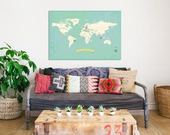World Map Wall Art, My Travels Personalized World Map Print, Different Sizes, Nursery Wall Art, Kid's Room Decor, Gender Neutral
