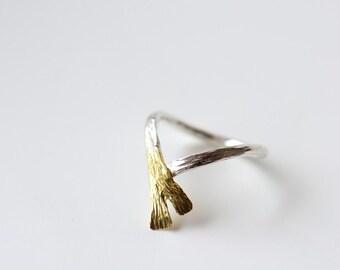 Elegant ring, mixed metal ring, 18K gold foldover ring, sterling silver and 18K gold ring, size 7 ring