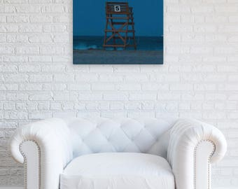 Full Moon by Crest Lifeguard Stand Number 5 | Gallery Wrap Photography on Canvas | Beach Housewarming | Lucky Star Dreams