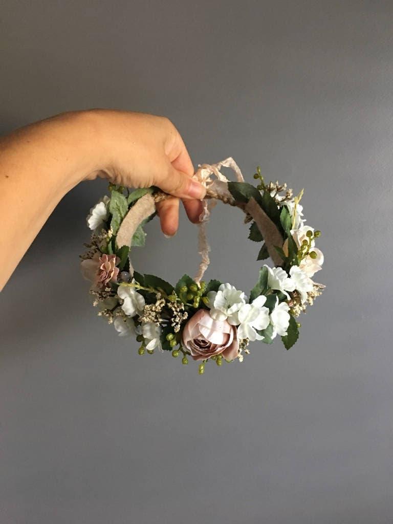 Tieback halo flower crown headband newborn photo prop tieback gallery photo gallery photo izmirmasajfo