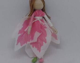 Christmas Elf - Pink and White Poinsettia Art Doll, bendy doll, ornament, worry doll - green shoe