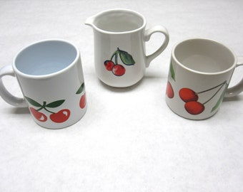 Cherry Mug Coffee Cup Creamer Cherries Eclectic Set