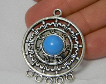 Earring Chandelier Blue Antique Silver Connectors 2 pcs, Pendant Focal, Chandelier Links, Blue