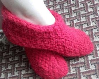 Red hand knit socks,mohair wool, warm socks.soft.Knitted slippers.Womens woollen socks.Children's slippers
