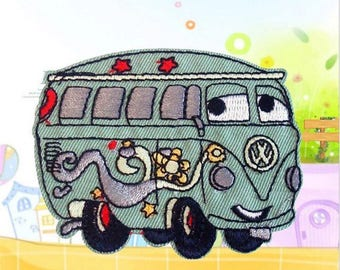 """Groovy Wagon Hippy Bus Iron on Embroidered patch (L=2.5"""" W=3.25"""")"""