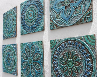 Set Of 6 Ceramic Tiles, Bathroom Tiles, Decorative Tiles, Outdoor Wall Art,