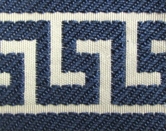 GREEK KEY tape braid border flat trim 2.65 inch sapphire blue on cream
