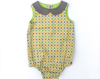 Size 2 Geometric grey, green and mustard print baby romper, handmade baby outfit, peter pan collar, 100% cotton,  babywear, toddler wear