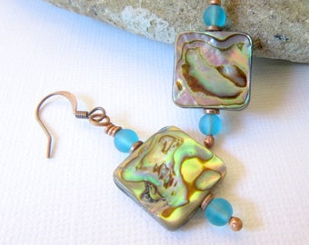 Mother of Pearl Earrings, Abalone Shell Earrings, Square Shell Earrings, Blue Sea Glass Earrings, Mother of Pearl Jewelry, Shell Jewelry
