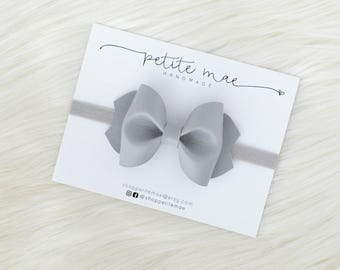 Grey Faux Leather Bow // 3 sizes //headband or clip
