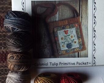 Valdani Thread Kit Colonial Tulip Punch Needle Wool Pocket Bag