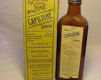 c1940s Hicks Liquid Capudine price 60 cents Capudine Chemical Co. Raleigh, N.C. , With label & Box ,Labeled Medicine Bottle No.2