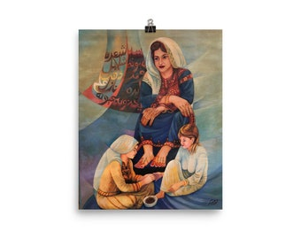 """Matte Print Museum Quality – """"A Mother & Her Children"""" -- Middle Eastern Art"""