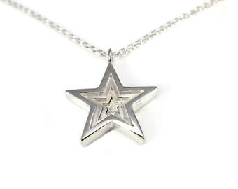 Sterling Silver Pendant with Necklace - 3D Star