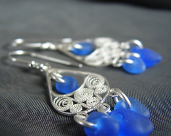 Sea Glass Earrings /  boho earrings  / blue seaglass earrings  /  beach glass earrings  /  sea glass jewelry  /  beachy earrings