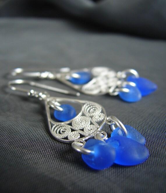 Sea Siren sea glass earrings in blue