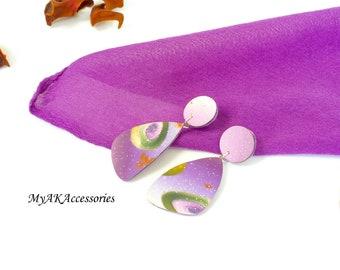 Dangle stud earrings - purple earrings - statement earrings - nickel free posts - unique earrings - fashion jewelry - spring earrings - gif