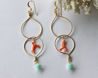 14kt Gold Filled Double Beach Hoops Adorned with Natural Italian Branch Coral and Sea Foam Swarovski Crystal