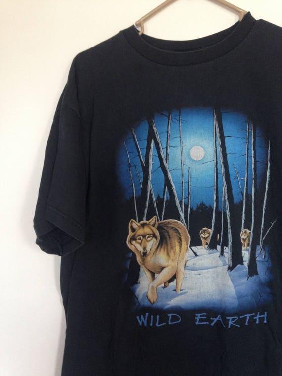Vintage 80s Wolf Graphic Print Wild Earth Black T Shirt Size XL 8j0A7BLwnO