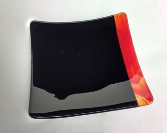 """8"""" x 8"""" square fused glass plate"""