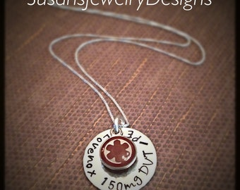Sterling Medical Alert Necklace - sterling silver 1 sided disc & choice of chain - choice of Medical Alert charm color