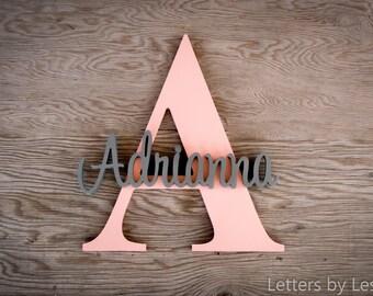 Capital Letter with Name. nursery decor, nursery name sign, nursery letters, baby girl nursery, baby boy nursery, custom sign, baby nursery