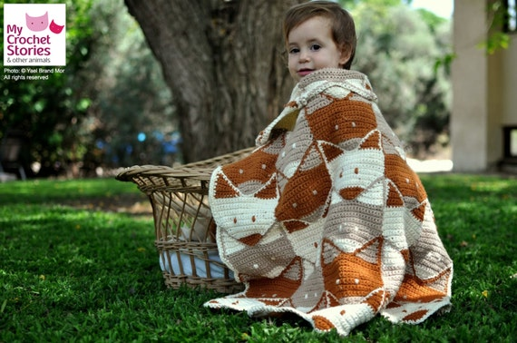 Modelo de crochet para bebé Diseño de manta de zorro para