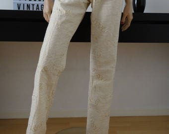 Pants DOLCE & GABBANA beige linen/lurex size 40 / uk 12 / us 8