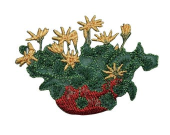 ID 7024 Yellow Flower Basket Patch Planter Garden Embroidered Iron On Applique