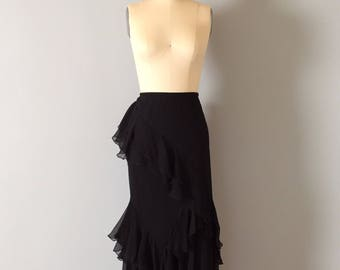 black silk gypsy mermaid skirt | ruffled cascade silk skirt | embroidered flowers maxi skirt