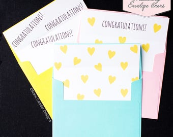Printed Matching Envelope Liner | A2 Sized Liner | Wedding Liner | Hearts Liner | Baby Shower | Congratulations | Expectant Mother | Mommy