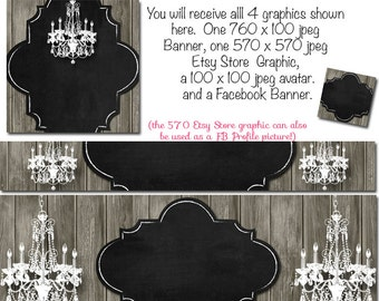 Etsy Banner and Facebook Set - White Chandelier - Customize for your Store, DIY Templates