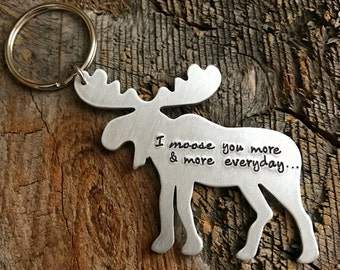 Long distance relationship gift I miss you gift hand stamped jewelry personalized keychain Large Moose keychain boyfriend gift ldr gift