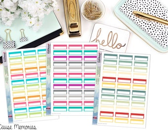 FUNCTIONAL BLANK BOXES Paper Planner Stickers - Mini Binder Sized/3 Hole Punched