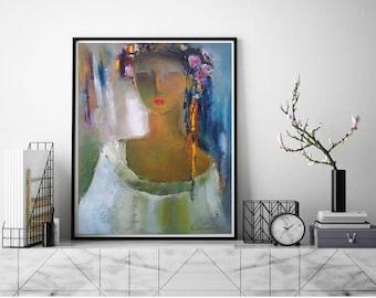 Ukrainian girl costume, Abstract lady Portrait, Ukraine national clothing for Bride, Ukrainian art, Ukrainian Blouse Headdress Flowers