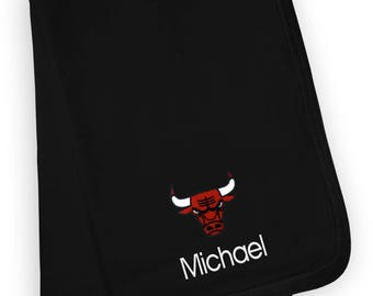 Personalized Chicago Bulls Baby Blanket Black