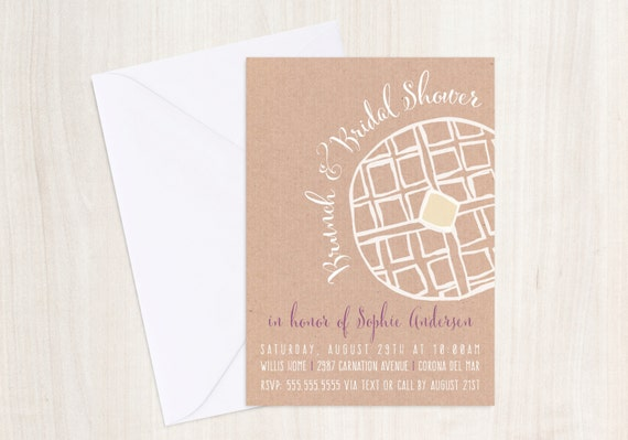 WAFFLE  Invite - Breakfast or Brunch Party Invitation - Party Supplies