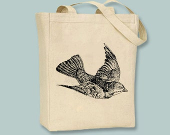 Beautlful Flying Bird illustration Canvas Tote -- Selection of sizes available