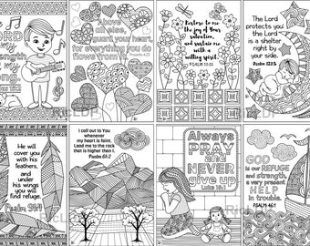 """8 Printable Scripture Cards (Set 2); Eight 3.4"""" x 4.9"""" Bible Coloring Cards; Instant Digital Downloads"""