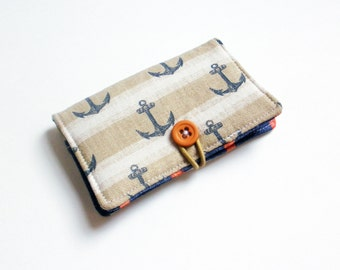Anchors Costal Blue Fabric Business Card Holder, with Costal Orange Blue Stripes  - Credit Card Holder, Cloth Card Holder, Gift Card Holder