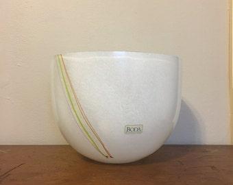 Rare Large Bertil Vallien Rainbow Swirl Striped Signed Art Glass Bowl for Kosta Boda