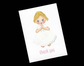Thank You Cards for Girls First Communion, Blank Note Cards, Blank Thank You Cards, Religious Thank You Cards