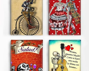 Set of 4 Magnets Day of the Dead