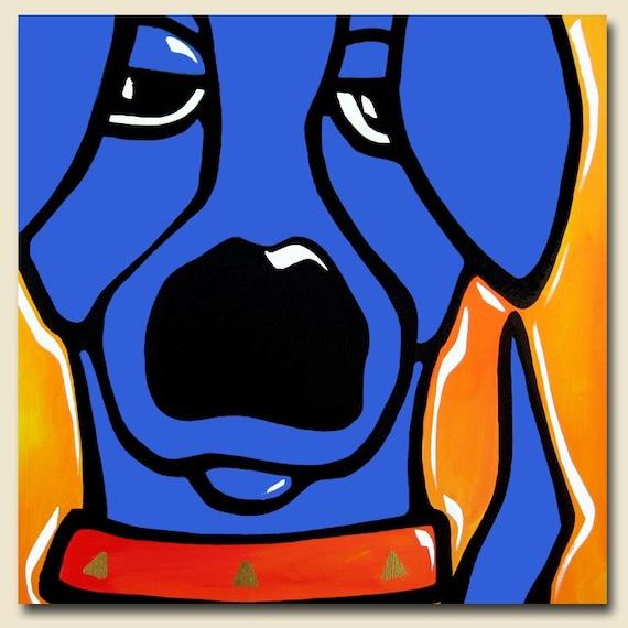 Dog Art Modern Abstract Original Pop Painting Blue Yellow Fidostudio Curious Ebay