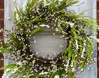 Summer Wreath, Spring Wreath, Pip Berry Wreath, Easter Wreath, Summer Door Decor, Rustic Wreath, Fixer Upper Wreath, Free Shipping