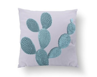 Mint Cactus Pillow, Plant Illustration Pillow, Home Decor, Cushion Cover, Throw Pillow, Bedroom Decor, Bed Pillow, Decorative Pillow