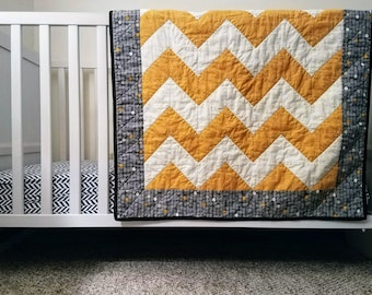 Gold and Gray Chevron Baby Quilt
