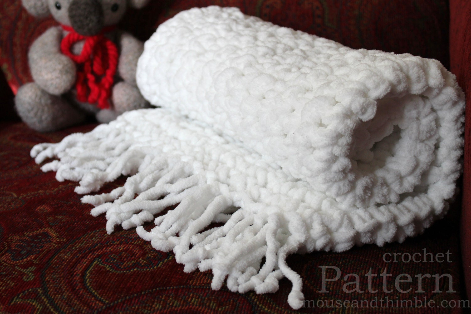 Crochet PATTERN / Baby Blanket / Chunky Fleece / Super Bulky / 26\