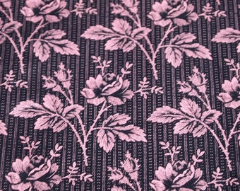 American Textiles Museum repro vintage Victorian floral and stripe print fabric, 1 yard